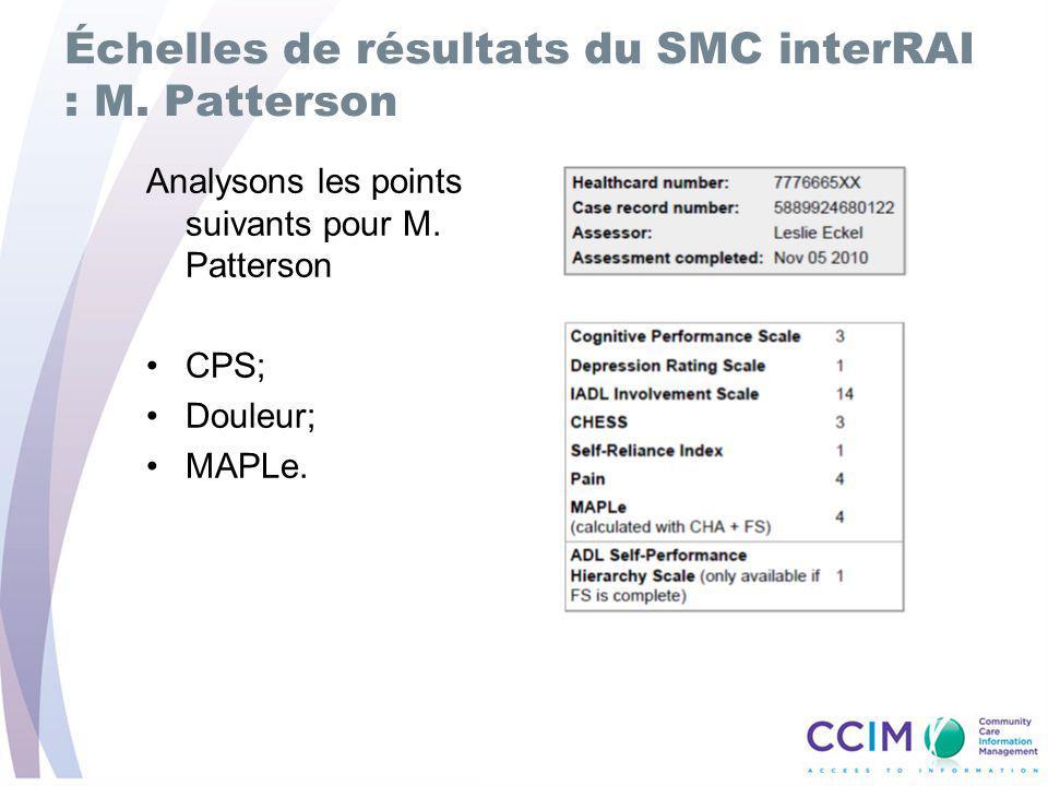 Échelles de résultats du SMC interRAI : M.Patterson Analysons les points suivants pour M.