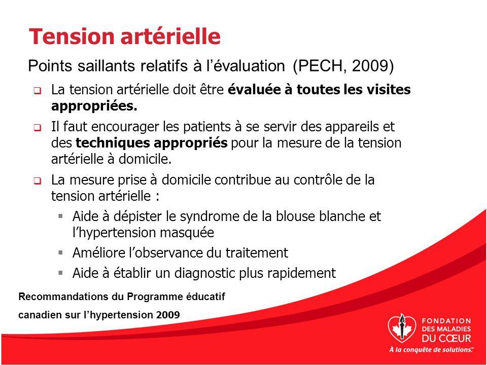 Tension artérielle La tension artérielle doit être évaluée à toutes les visites appropriées. Il faut encourager les patients à se servir des appareils