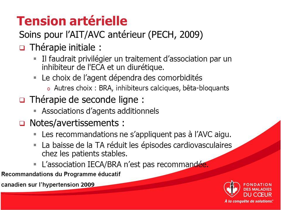 Tension artérielle Soins pour lAIT/AVC antérieur (PECH, 2009) Thérapie initiale : Il faudrait privilégier un traitement dassociation par un inhibiteur