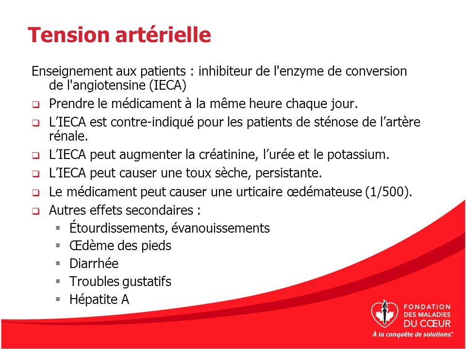 Tension artérielle Enseignement aux patients : inhibiteur de l'enzyme de conversion de l'angiotensine (IECA) Prendre le médicament à la même heure cha