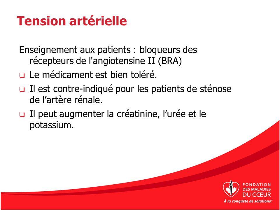Tension artérielle Enseignement aux patients : bloqueurs des récepteurs de l'angiotensine II (BRA) Le médicament est bien toléré. Il est contre-indiqu