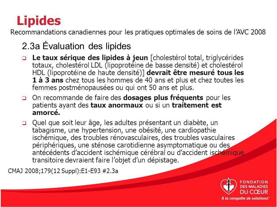 Lipides Le taux sérique des lipides à jeun [cholestérol total, triglycérides totaux, cholestérol LDL (lipoprotéine de basse densité) et cholestérol HD