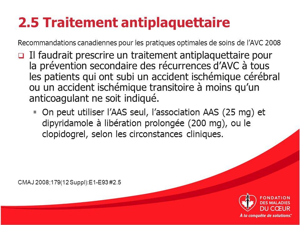 2.5 Traitement antiplaquettaire Recommandations canadiennes pour les pratiques optimales de soins de lAVC 2008 Il faudrait prescrire un traitement ant
