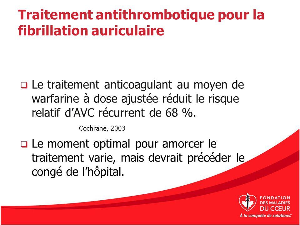 Traitement antithrombotique pour la fibrillation auriculaire Le traitement anticoagulant au moyen de warfarine à dose ajustée réduit le risque relatif