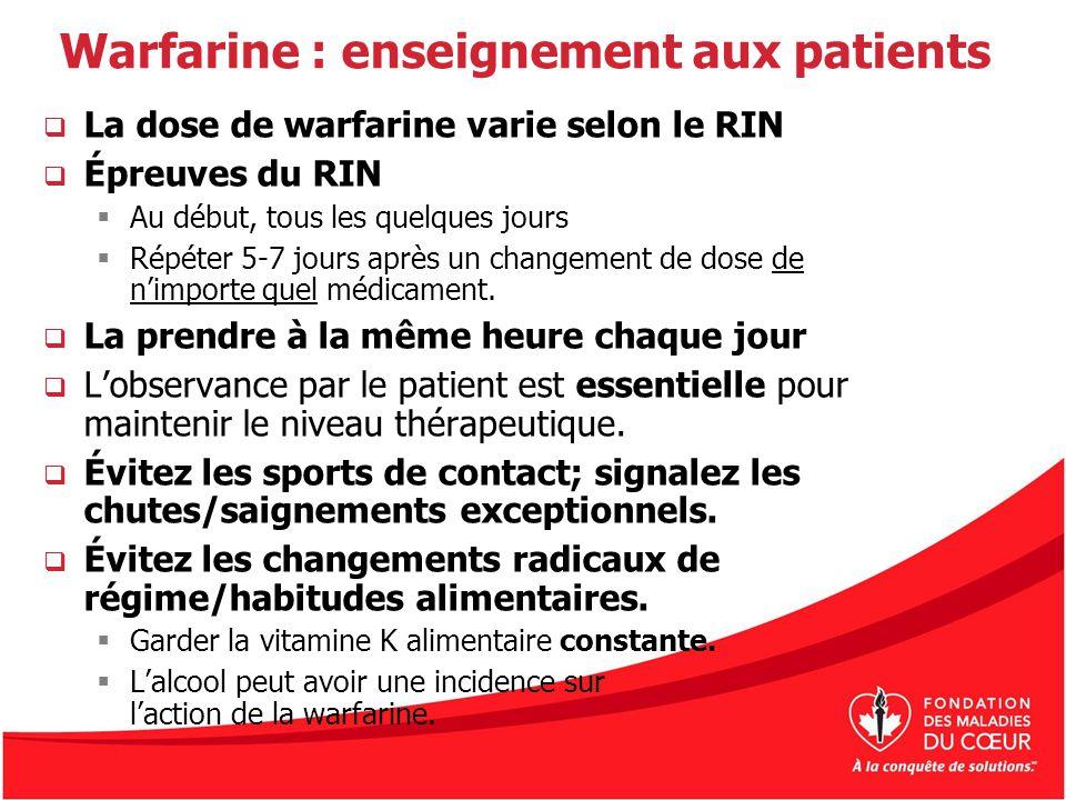 Warfarine : enseignement aux patients La dose de warfarine varie selon le RIN Épreuves du RIN Au début, tous les quelques jours Répéter 5-7 jours aprè