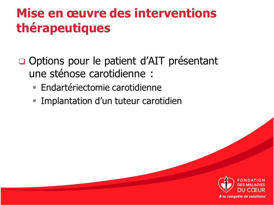 Mise en œuvre des interventions thérapeutiques Options pour le patient dAIT présentant une sténose carotidienne : Endartériectomie carotidienne Implan