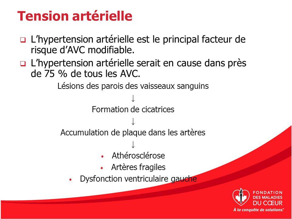 Tension artérielle Lhypertension artérielle est le principal facteur de risque dAVC modifiable. Lhypertension artérielle serait en cause dans près de