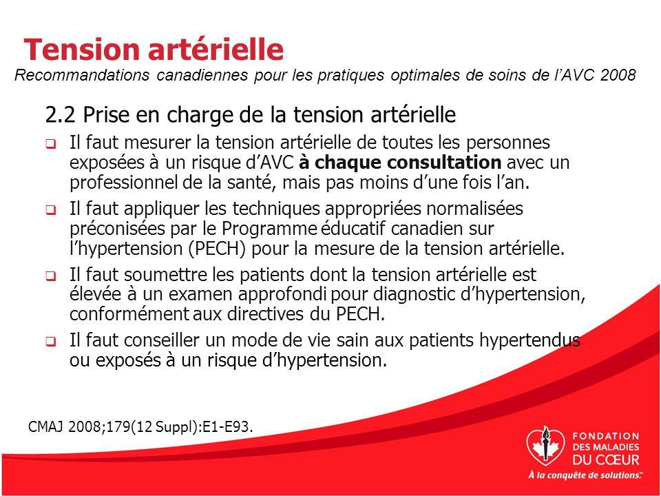 Tension artérielle 2.2 Prise en charge de la tension artérielle La Stratégie canadienne de lAVC recommande des valeurs cibles de tension artérielle, telles que définies dans les directives du PECH pour la prévention dun premier AVC, des récurrences dAVC et dautres épisodes vasculaires.