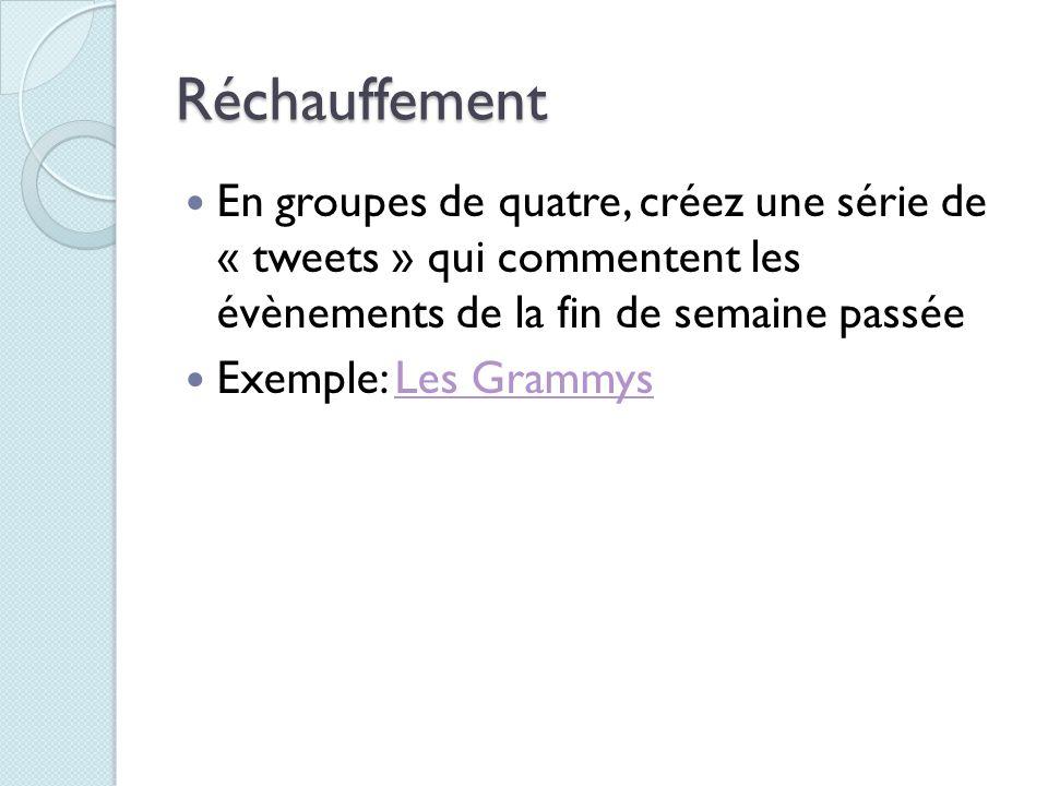 Réchauffement En groupes de quatre, créez une série de « tweets » qui commentent les évènements de la fin de semaine passée Exemple: Les GrammysLes Gr
