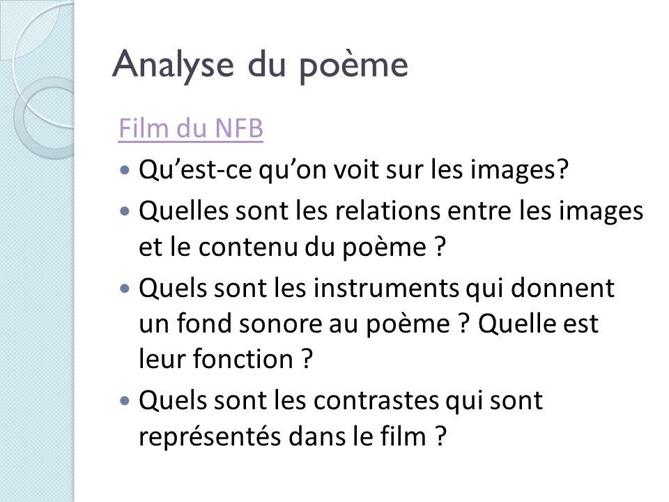 Analyse du poème Film du NFB Quest-ce quon voit sur les images? Quelles sont les relations entre les images et le contenu du poème ? Quels sont les in
