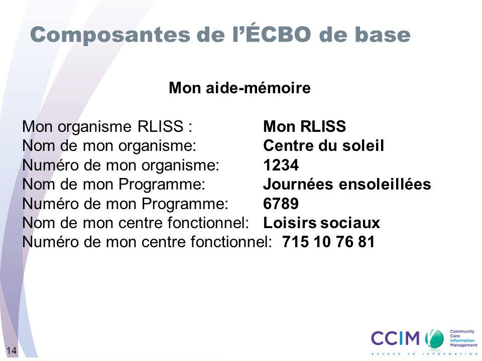 14 Composantes de lÉCBO de base Mon aide-mémoire Mon organisme RLISS : Mon RLISS Nom de mon organisme: Centre du soleil Numéro de mon organisme: 1234