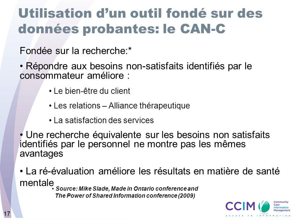 17 Utilisation dun outil fondé sur des données probantes: le CAN-C Fondée sur la recherche:* Répondre aux besoins non-satisfaits identifiés par le con
