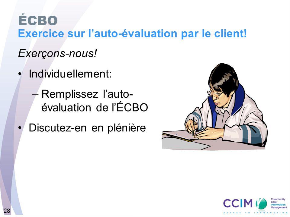 28 Exerçons-nous! Individuellement: –Remplissez lauto- évaluation de lÉCBO Discutez-en en plénière ÉCBO Exercice sur lauto-évaluation par le client! 2