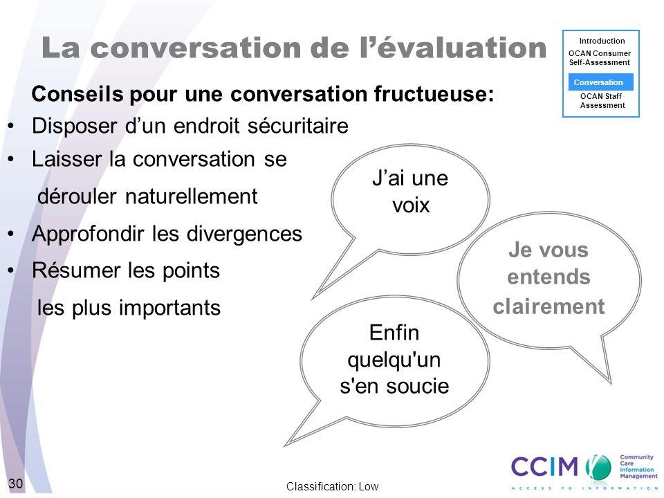 Je vous entends clairement Classification: Low 30 La conversation de lévaluation Conseils pour une conversation fructueuse: Disposer dun endroit sécur