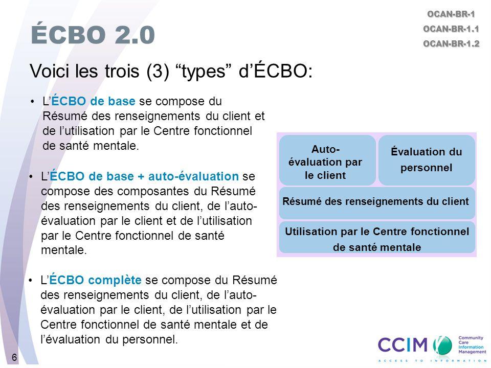 6 ÉCBO 2.0 Voici les trois (3) types dÉCBO: OCAN-BR-1OCAN-BR-1.1OCAN-BR-1.2 Auto- évaluation par le client Évaluation du personnel Résumé des renseign