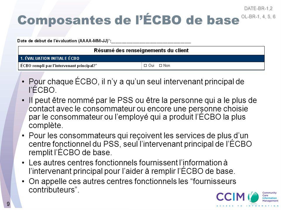 9 Composantes de lÉCBO de base Pour chaque ÉCBO, il ny a quun seul intervenant principal de lÉCBO. Il peut être nommé par le PSS ou être la personne q