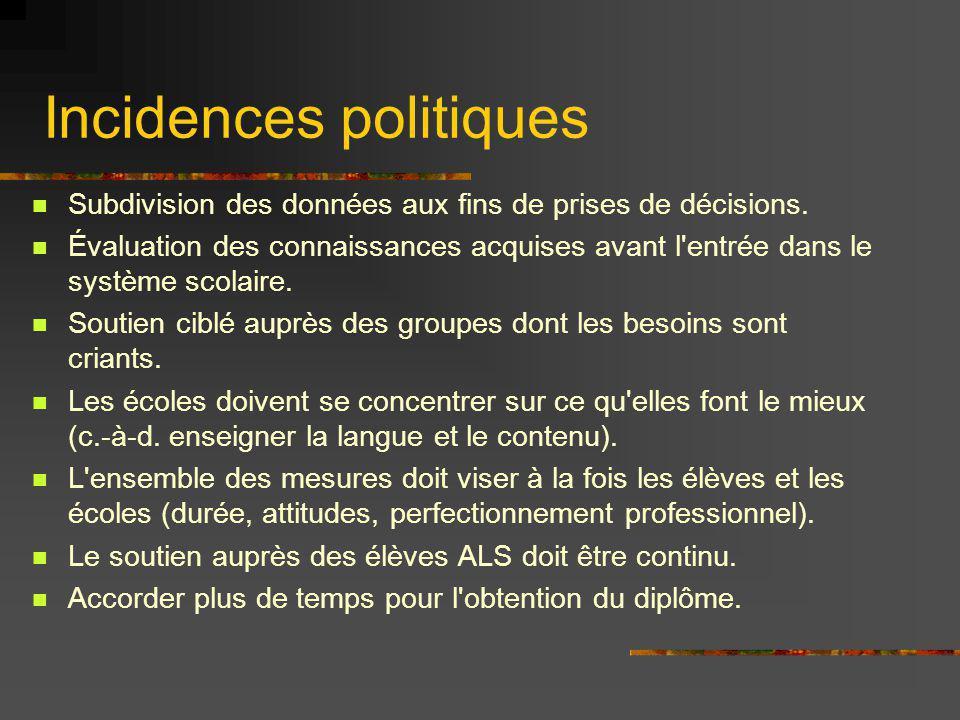 Incidences politiques Subdivision des données aux fins de prises de décisions.