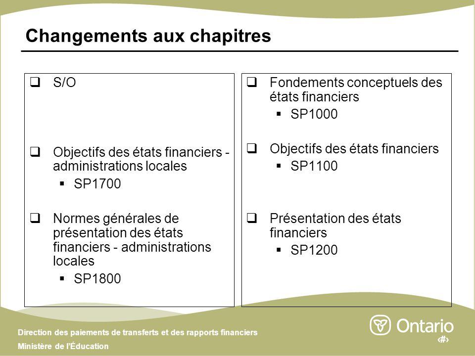 2 Direction des paiements de transferts et des rapports financiers Ministère de lÉducation Changements aux chapitres S/O Objectifs des états financier