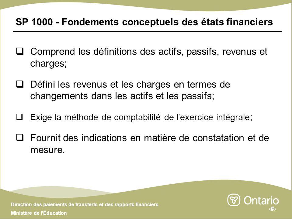 3 Direction des paiements de transferts et des rapports financiers Ministère de lÉducation SP 1000 - Fondements conceptuels des états financiers Compr