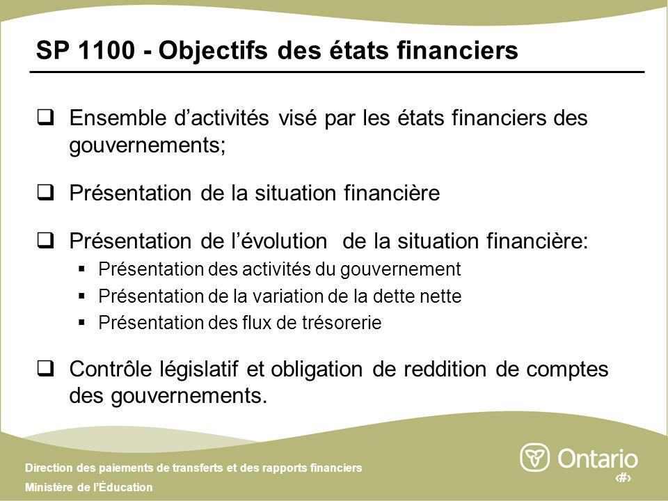 4 Direction des paiements de transferts et des rapports financiers Ministère de lÉducation SP 1100 - Objectifs des états financiers Ensemble dactivité