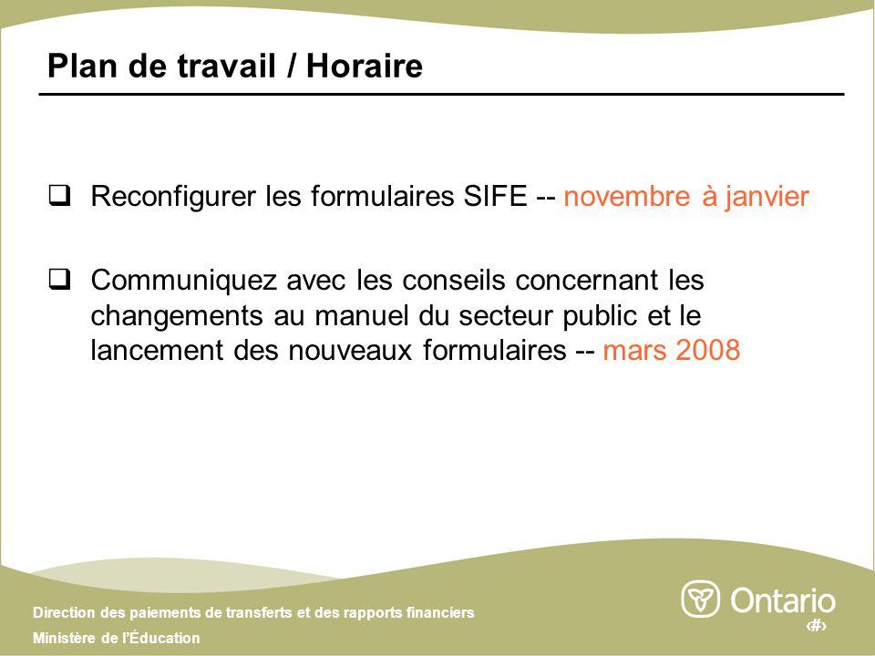 6 Direction des paiements de transferts et des rapports financiers Ministère de lÉducation Plan de travail / Horaire Reconfigurer les formulaires SIFE -- novembre à janvier Communiquez avec les conseils concernant les changements au manuel du secteur public et le lancement des nouveaux formulaires -- mars 2008