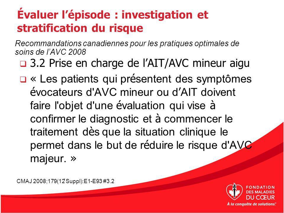 Évaluer lépisode : investigation et stratification du risque 3.2 Prise en charge de lAIT/AVC mineur aigu « Les patients qui pr é sentent des symptômes