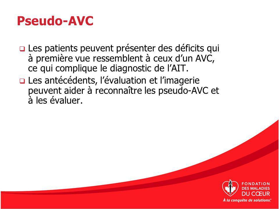 Pseudo-AVC Les patients peuvent présenter des déficits qui à première vue ressemblent à ceux dun AVC, ce qui complique le diagnostic de lAIT. Les anté