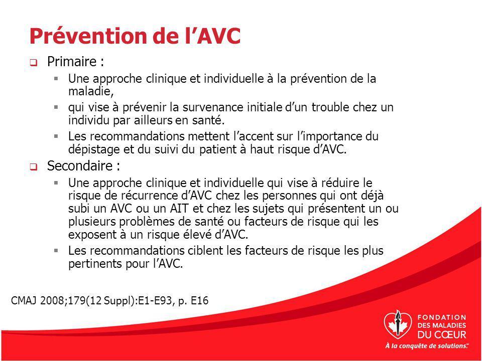 Prévention de lAVC Primaire : Une approche clinique et individuelle à la prévention de la maladie, qui vise à prévenir la survenance initiale dun trou