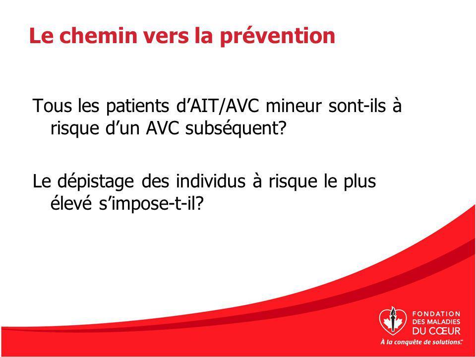 Le chemin vers la prévention Tous les patients dAIT/AVC mineur sont-ils à risque dun AVC subséquent? Le dépistage des individus à risque le plus élevé