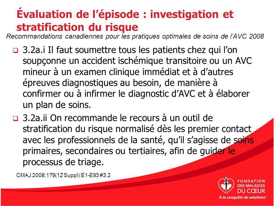 Évaluation de lépisode : investigation et stratification du risque 3.2a.i Il faut soumettre tous les patients chez qui lon soupçonne un accident isché