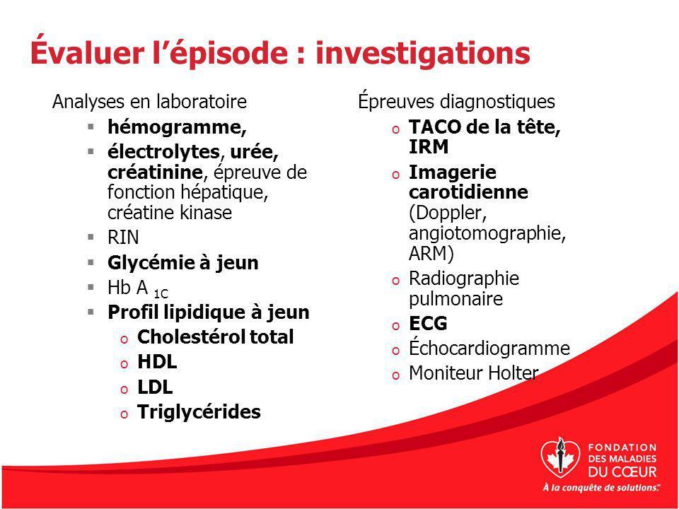 Évaluer lépisode : investigations Analyses en laboratoire hémogramme, électrolytes, urée, créatinine, épreuve de fonction hépatique, créatine kinase R