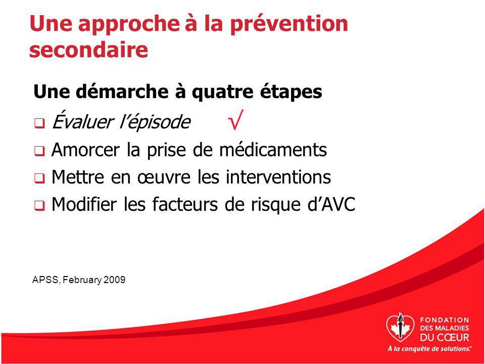 Une approche à la prévention secondaire Une démarche à quatre étapes Évaluer lépisode Amorcer la prise de médicaments Mettre en œuvre les intervention
