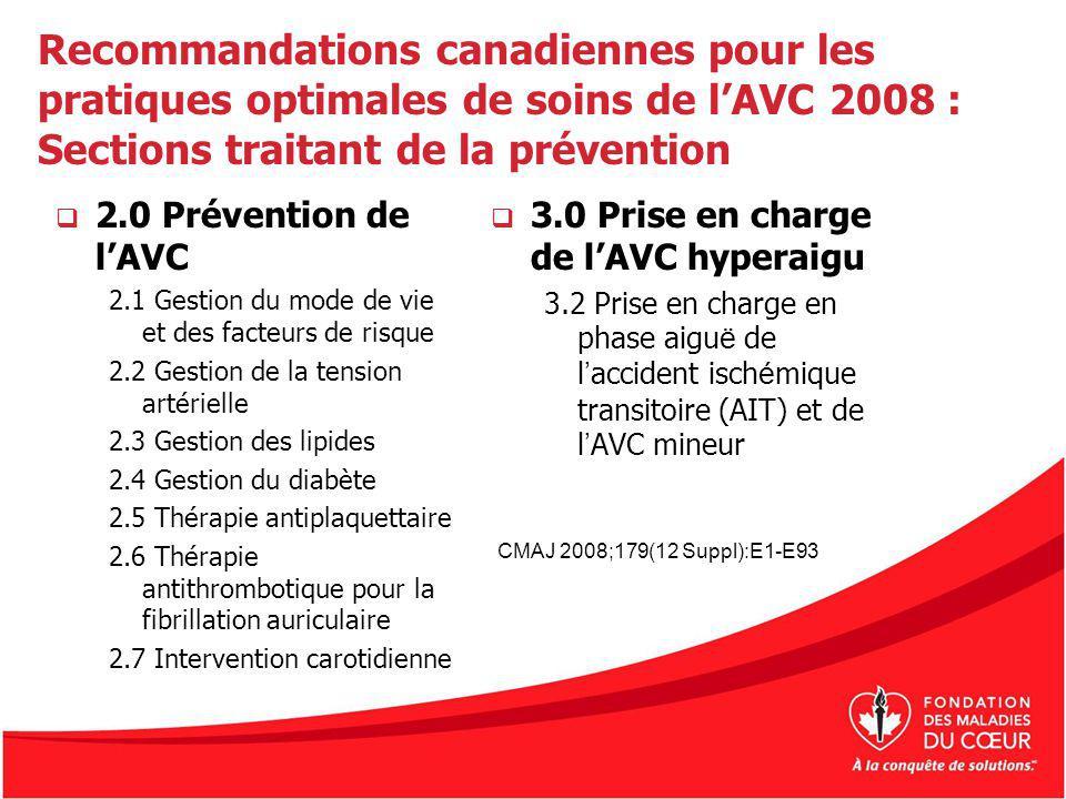 2.0 Prévention de lAVC 2.1 Gestion du mode de vie et des facteurs de risque 2.2 Gestion de la tension artérielle 2.3 Gestion des lipides 2.4 Gestion d