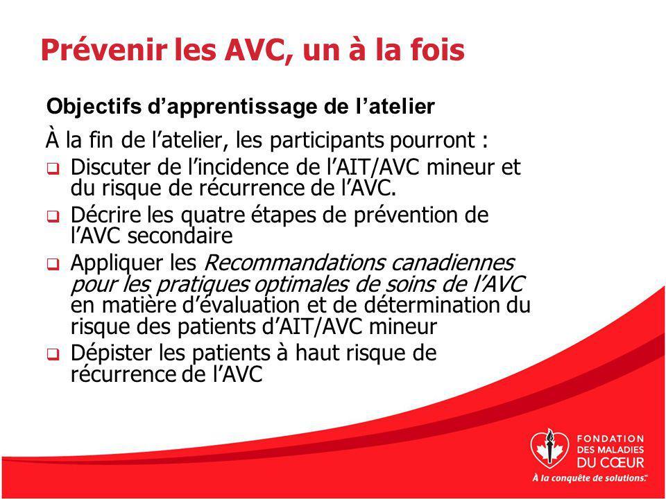 Prévenir les AVC, un à la fois À la fin de latelier, les participants pourront : Discuter de lincidence de lAIT/AVC mineur et du risque de récurrence