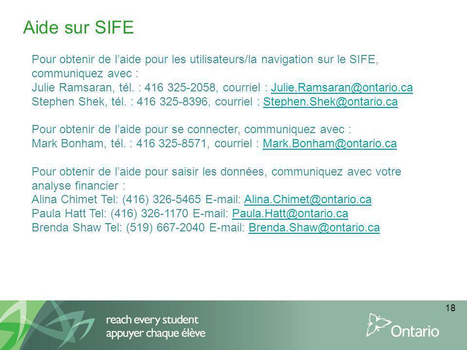 18 Aide sur SIFE Pour obtenir de laide pour les utilisateurs/la navigation sur le SIFE, communiquez avec : Julie Ramsaran, tél.
