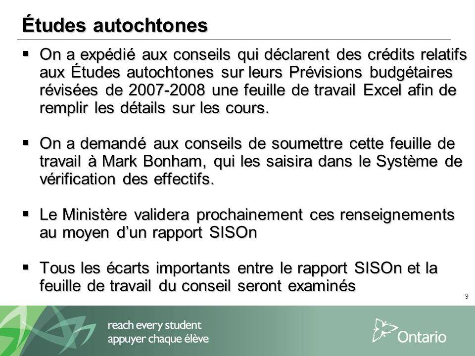 9 Études autochtones On a expédié aux conseils qui déclarent des crédits relatifs aux Études autochtones sur leurs Prévisions budgétaires révisées de 2007-2008 une feuille de travail Excel afin de remplir les détails sur les cours.