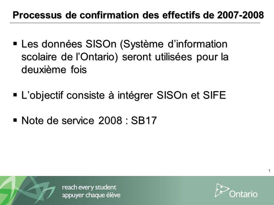 1 Processus de confirmation des effectifs de 2007-2008 Les données SISOn (Système dinformation scolaire de lOntario) seront utilisées pour la deuxième fois Les données SISOn (Système dinformation scolaire de lOntario) seront utilisées pour la deuxième fois Lobjectif consiste à intégrer SISOn et SIFE Lobjectif consiste à intégrer SISOn et SIFE Note de service 2008 : SB17 Note de service 2008 : SB17
