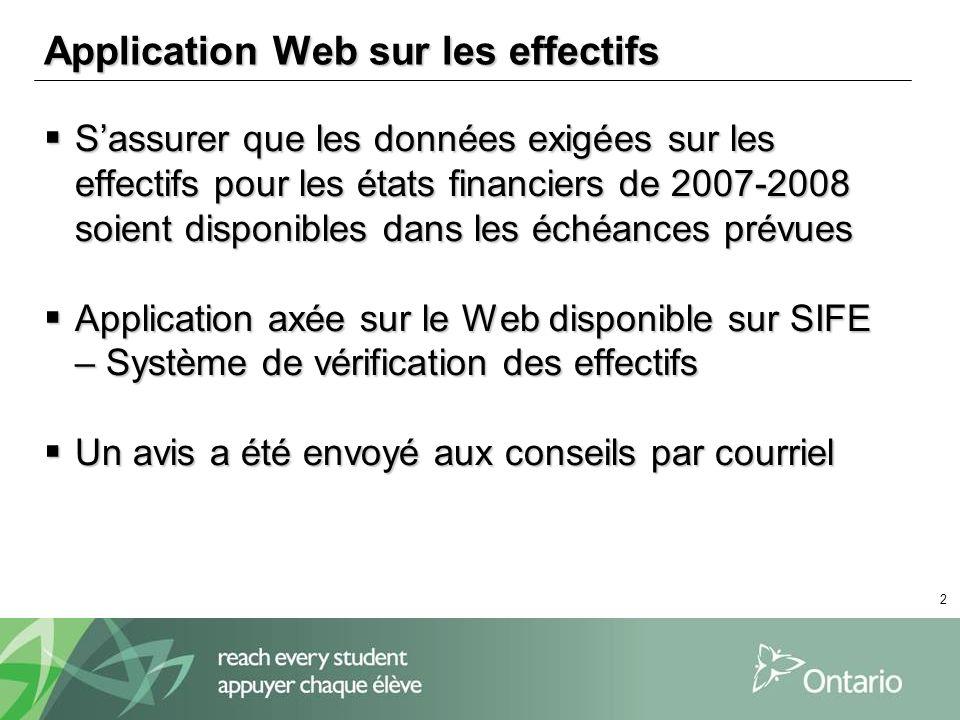 2 Application Web sur les effectifs Sassurer que les données exigées sur les effectifs pour les états financiers de 2007-2008 soient disponibles dans les échéances prévues Sassurer que les données exigées sur les effectifs pour les états financiers de 2007-2008 soient disponibles dans les échéances prévues Application axée sur le Web disponible sur SIFE – Système de vérification des effectifs Application axée sur le Web disponible sur SIFE – Système de vérification des effectifs Un avis a été envoyé aux conseils par courriel Un avis a été envoyé aux conseils par courriel