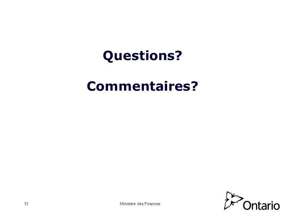 Ministère des Finances13 Questions Commentaires