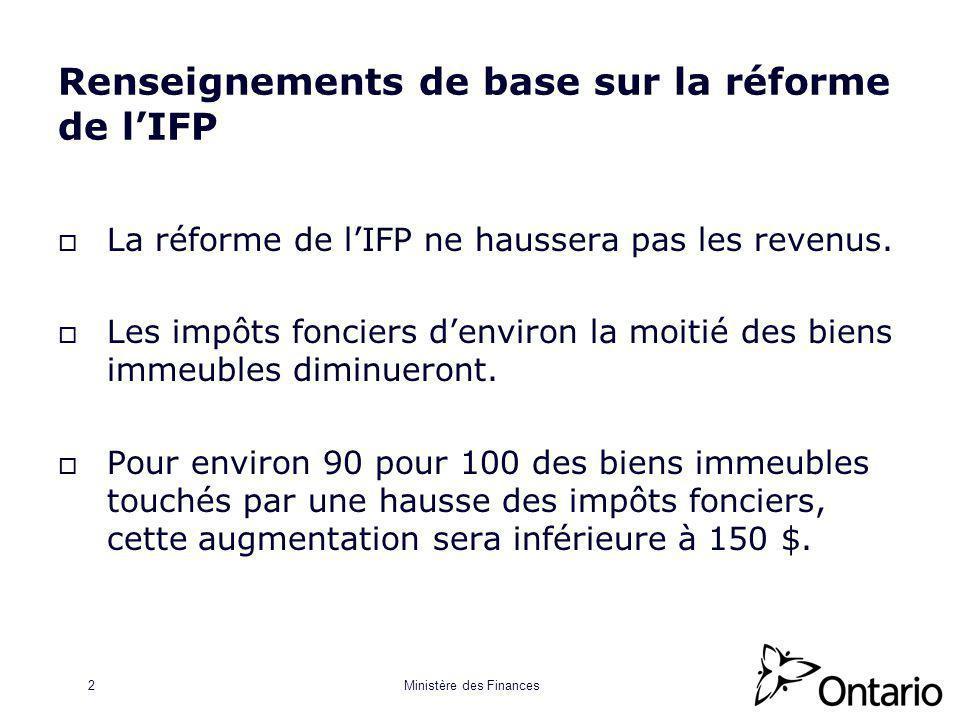 Ministère des Finances2 Renseignements de base sur la réforme de lIFP La réforme de lIFP ne haussera pas les revenus.