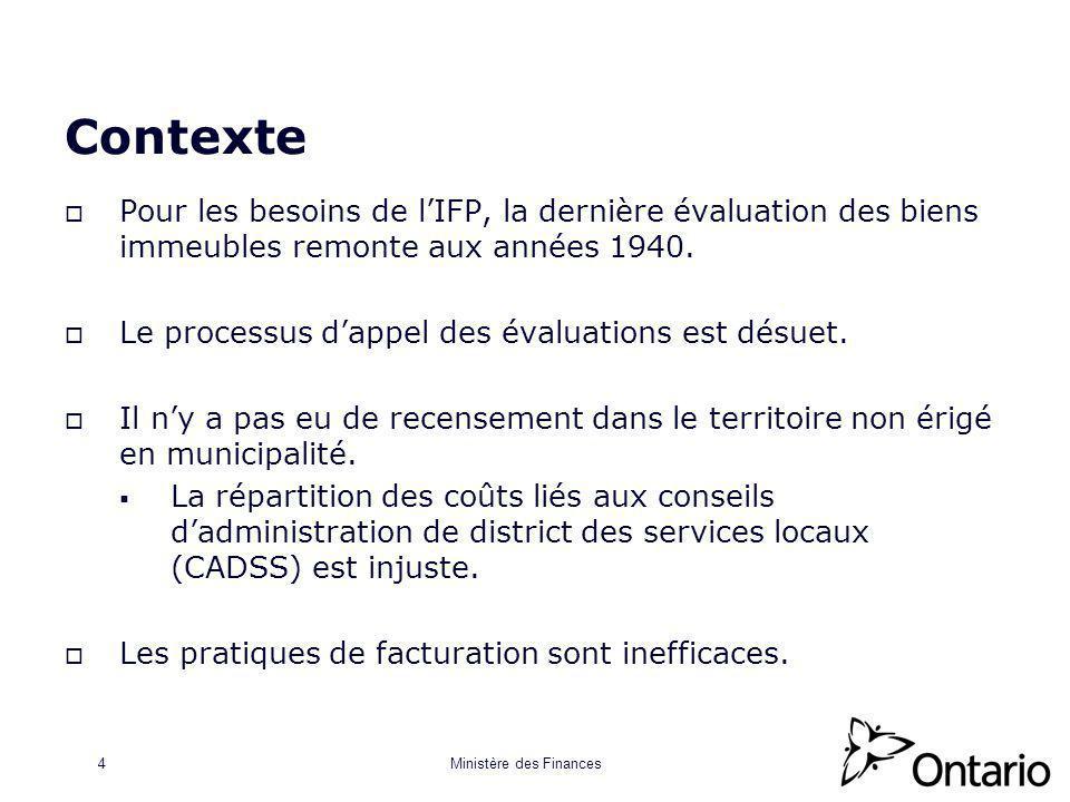 Ministère des Finances4 Contexte Pour les besoins de lIFP, la dernière évaluation des biens immeubles remonte aux années 1940.