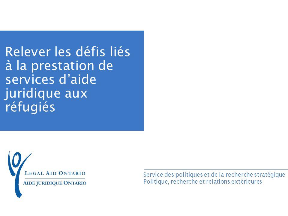 Service des politiques et de la recherche stratégique Politique, recherche et relations extérieures Relever les défis liés à la prestation de services daide juridique aux réfugiés