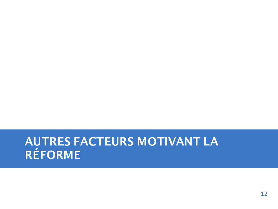 AUTRES FACTEURS MOTIVANT LA RÉFORME 12