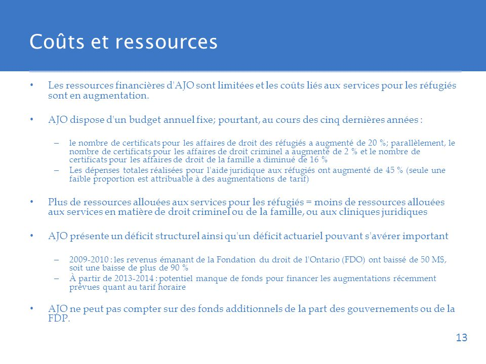 Coûts et ressources Les ressources financières d AJO sont limitées et les coûts liés aux services pour les réfugiés sont en augmentation.