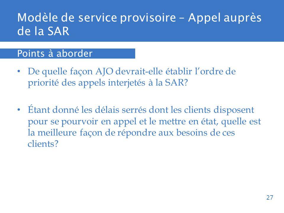 Modèle de service provisoire – Appel auprès de la SAR De quelle façon AJO devrait-elle établir lordre de priorité des appels interjetés à la SAR.