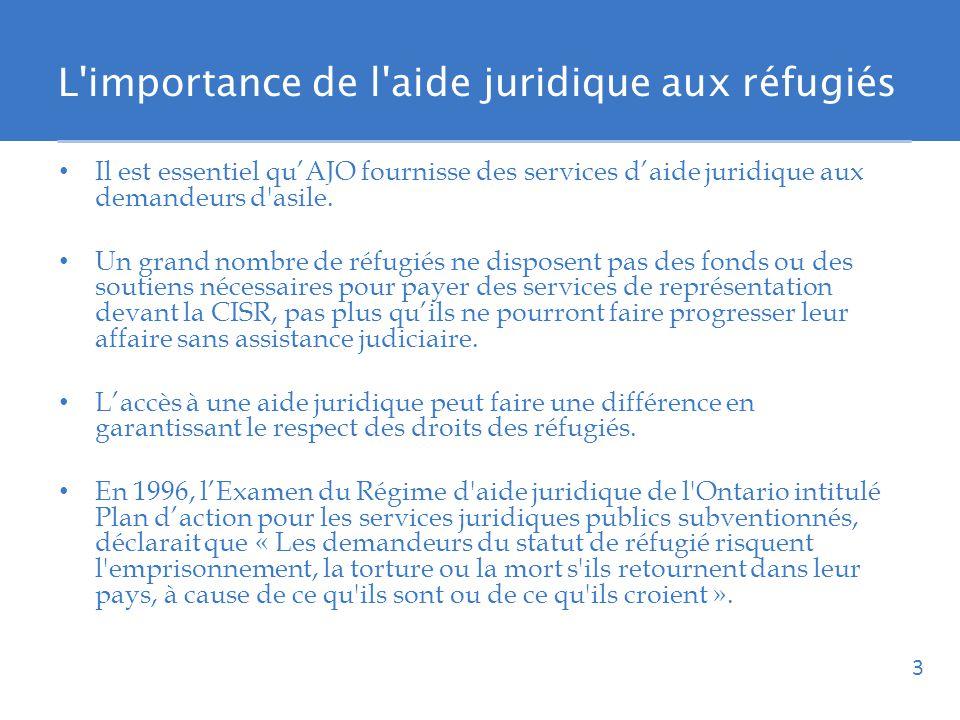 L importance de l aide juridique aux réfugiés Il est essentiel quAJO fournisse des services daide juridique aux demandeurs d asile.