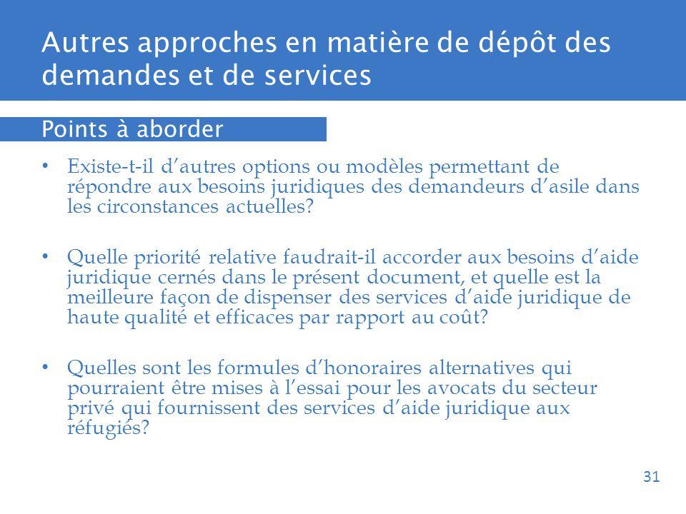 Autres approches en matière de dépôt des demandes et de services Existe-t-il dautres options ou modèles permettant de répondre aux besoins juridiques des demandeurs dasile dans les circonstances actuelles.