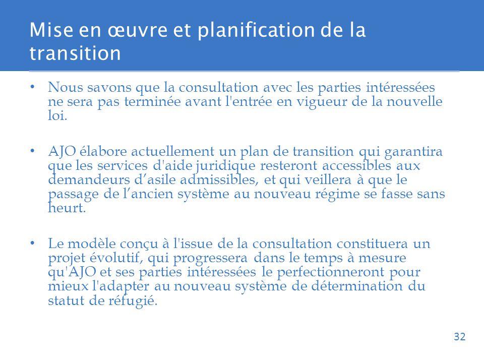 Mise en œuvre et planification de la transition Nous savons que la consultation avec les parties intéressées ne sera pas terminée avant l entrée en vigueur de la nouvelle loi.