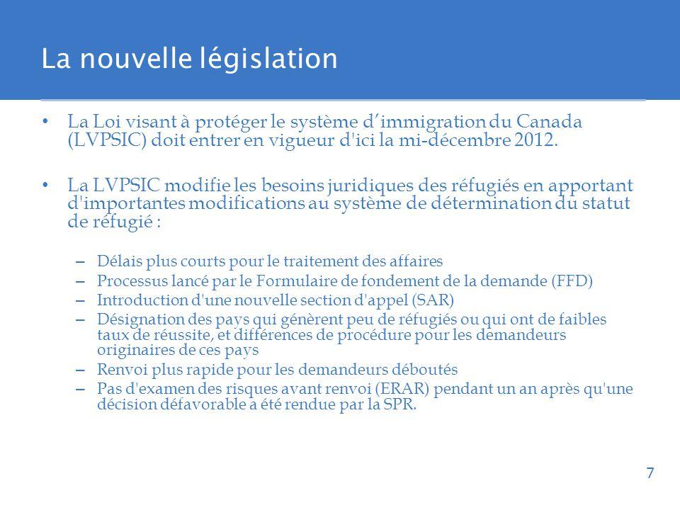 La nouvelle législation La Loi visant à protéger le système dimmigration du Canada (LVPSIC) doit entrer en vigueur d ici la mi-décembre 2012.