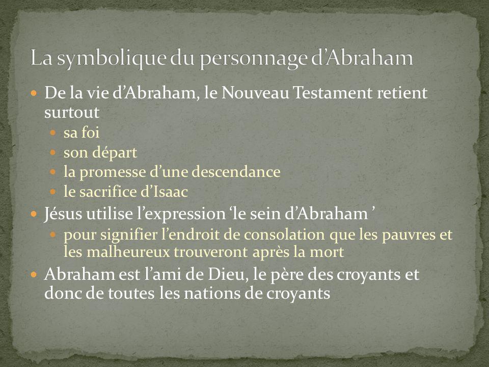 De la vie dAbraham, le Nouveau Testament retient surtout sa foi son départ la promesse dune descendance le sacrifice dIsaac Jésus utilise lexpression
